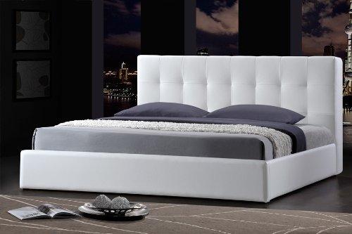 Cama 200x200 con armazones de cuero blanco para futón