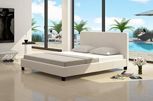 Cama de cuero para futón con armazones blancos 200x200cm