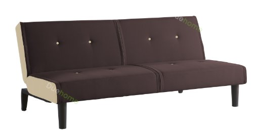 Sofa cama apertura clic clac color marron y beige for Colchon sofa cama clic clac