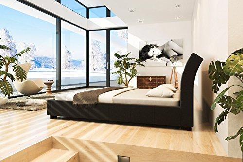 Cama de cuero tapizada con armazón negro 140x200cm