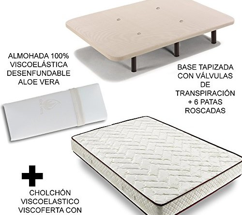 Oferta colch n y base tapizada con patas m s almohada for Oferta canape mas colchon