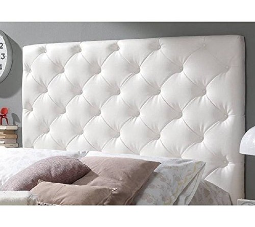 Cabecero en capiton a rombos blanco para cama matrimonio - Cabeceros en blanco ...