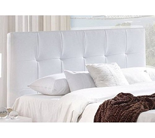 Cabecero tapizado polipiel blanco acolchado cama for Cama individual blanca