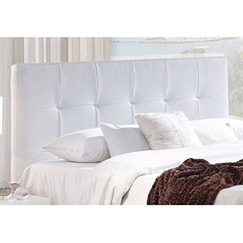 Cabecero tapizado polipiel blanco acolchado cama - Cabeceros de madera blanco ...