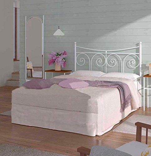 MUEBLES  Cabecero de forja nacional Modelo Palma, Blanco para cama de