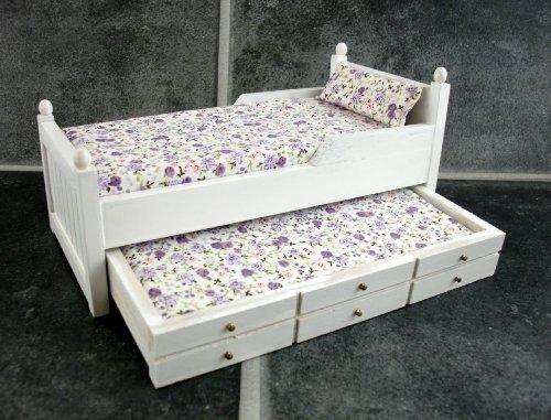 Cama nido individual de madera blanca miniatura para casa for Colchon cama nido ikea