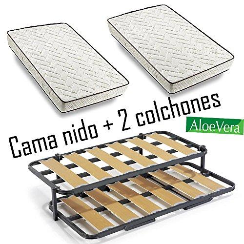 Cama nido met lica con 2 somieres lama ancha reforzada for Cama nido con colchones