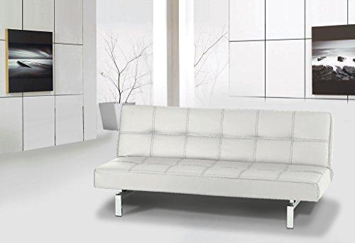 Sofa cama clic clac de piel ecologica blanco colchoner a - Sofa cama piel blanco ...