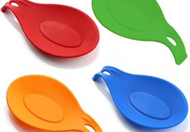 iNeibo reposa cucharas, cuchara reposa, reposa cucharas silicona, utensilios cocina de silicona alimentaria 100%, sin Bpa, Set de 4, resistente al calor, aprobado por la FDA, sin Bpa, apto por lavavajillas