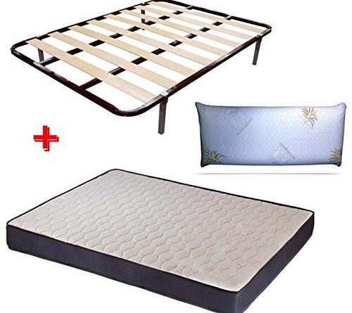 Pack 135x190 con colchon de 18 cm 1 y somier laminas con 6 patas almohada viscolastica - Somier laminas 135 ...