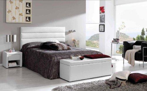 Maxcolchon cabecero paris cama de 105 105x75 cm polipiel blanco comprar colch n aloe vera - Cabecero acolchado ...