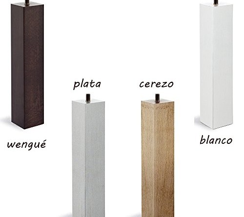 4 patas de somier base tapizada madera cuadradas con - Patas de madera para somier ...