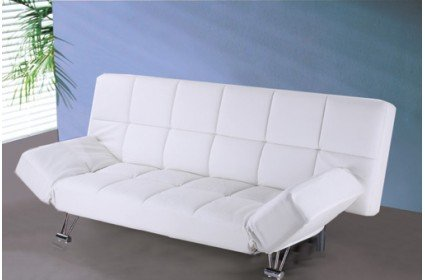sofa cama tres plazas apertura clic clac en piel textil en color blanco comprar colch n aloe. Black Bedroom Furniture Sets. Home Design Ideas